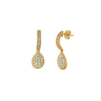 14K Gold 0.58ctw. Diamond Pear-Shaped Drop Earrings