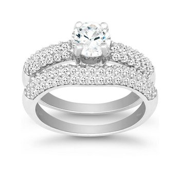 - Sterling Silver Set with CZ Stones Wedding and Engagment Ring Set