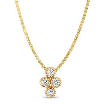 - 14k Yellow Gold Diamond Floral Flower Nature Inspired Cross Design Chain Pendant