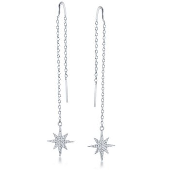 Sterling Silver Micro Pave CZ Star with Chain & Hanging Bar Threader Earrings