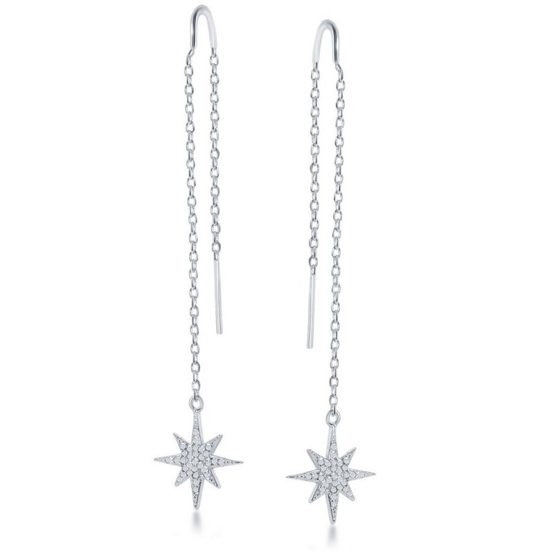 Fashion Jewelry Collection Sterling Silver Micro Pave CZ Star with Chain & Hanging Bar Threader Earrings