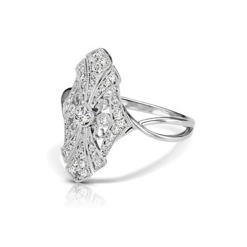 - 1/4ctw. Diamonds 14k Gold Vintage-Inspired Right Hand Ring