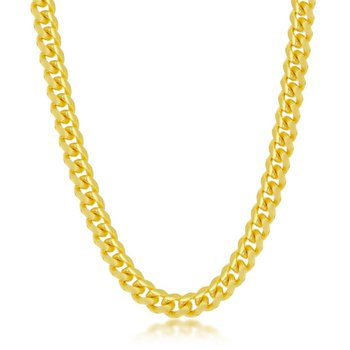 - Sterling Silver 14k Yellow Gold Plated Solid 6mm Miami Cuban Chain Bracelet/Necklace