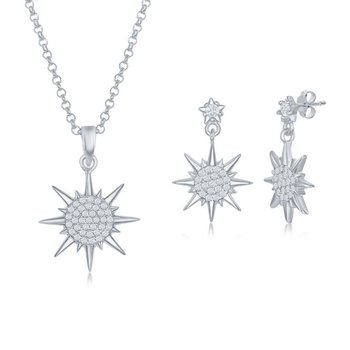 Sterling Silver CZ Sun Pendant & Earrings Set