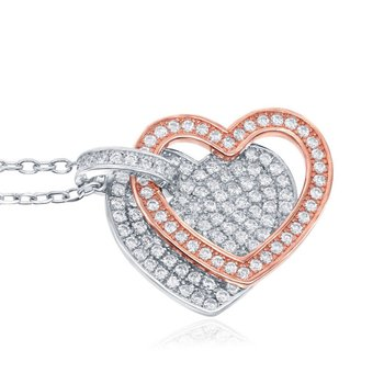 Sterling Silver Two-Tone 14k Rose Gold Plated Micro Pave CZ Double Heart Pendant Chain Necklace
