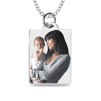 - Small Rectangle Laser Enameled 14x21mm Customized Engravable Photo Picture Pendant