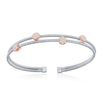 - Italian Collection CZ Stones Sterling Silver w/14k Rose Gold Plated Rounds Double Wire Bangle Cuff Bracelet