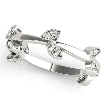 1/8ctw. Diamond Anniversary Wedding Stackable Floral Ring Band