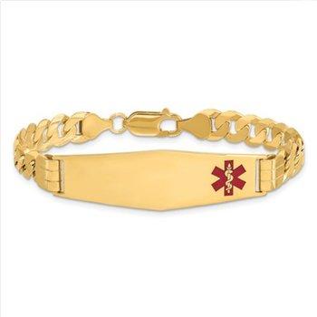 14k Yellow Gold Solid Engravable Soft Diamond Shape Red Enamel Curb Link Chain Medical Alert ID Bracelet