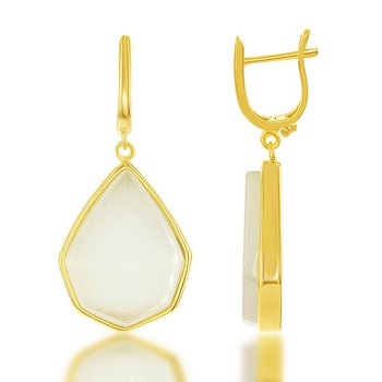 - Simona Sterling Silver 14k Yellow Gold Plated Nude Yellow Cat's Eye Teardrop Latchback Earring Pair