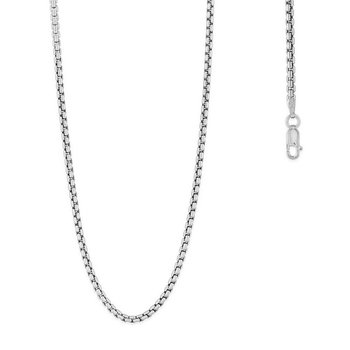 - Sterling Silver 2.6mm Round Box Chain Bracelet / Necklace for Men