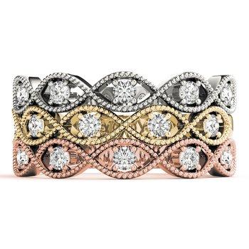 1/6ctw. Diamond Anniversary Wedding Milgrain Stackable Ring Band