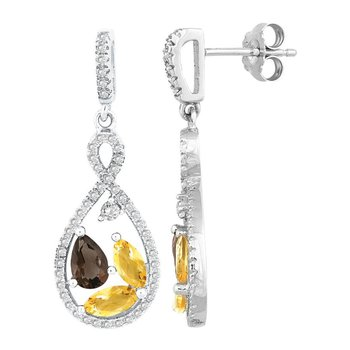 - Bellissima Sterling Silver 1.76ctw. Marquise Citrine and Pear Smoky Quartz Gemstones and 0.88ctw. White Topaz Dangle Drop Earring Pair