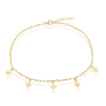 14k Yellow Gold Plated Sterling Silver North Star Charms Paper Clip Style Link Chain Anklet