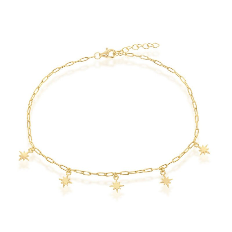 Fashion Jewelry Collection 14k Yellow Gold Plated Sterling Silver North Star Charms Paper Clip Style Link Chain Anklet