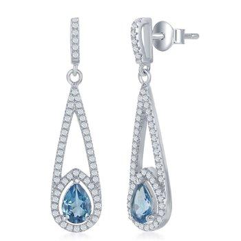 - Bellissima Sterling Silver 1.60ctw. Swiss Blue Topaz Teardrop and 1.00ctw. White Topaz Gemstones Dangle Drop Earring Pair