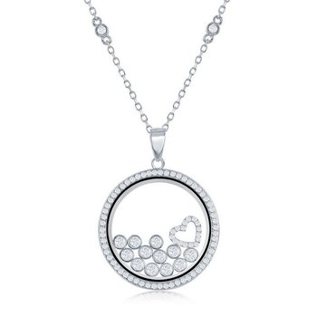 Sterling Silver Floating Heart & Round CZ in a Disc Pendant Chain Necklace