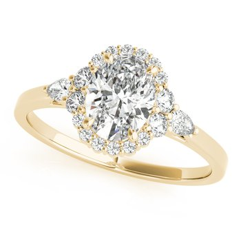 Oval Diamond Accented Halo Engagement Ring