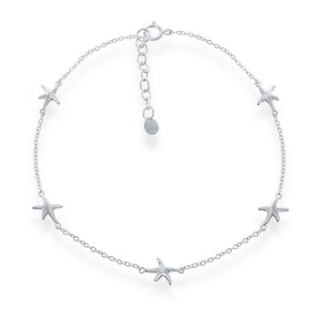 - Sterling Silver Starfish Chain Anklet - 9""