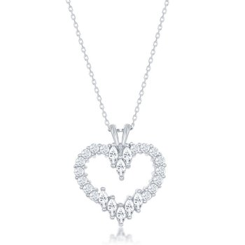 Sterling Silver Multi-Shaped Marquise and Round CZ Heart Pendant