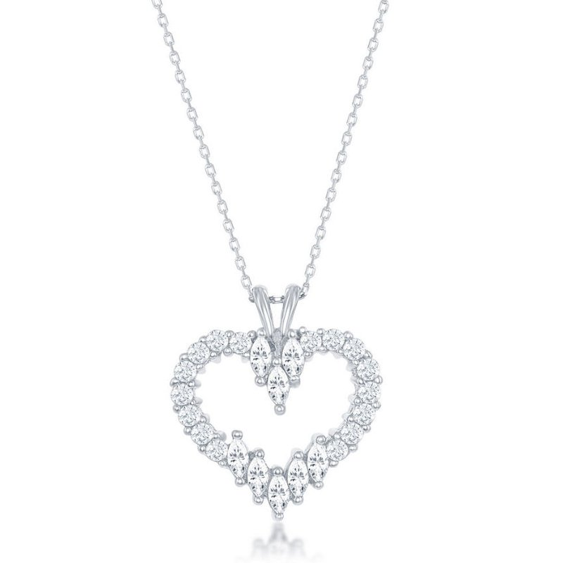 Fashion Jewelry Collection Sterling Silver Multi-Shaped Marquise and Round CZ Heart Pendant