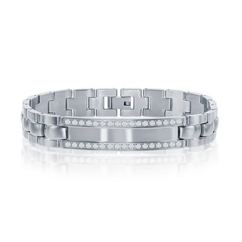 """- Stainless Steel Yellow Gold Plated with CZ Stones Engravable Link Bracelet for Men - 8.50"""""""