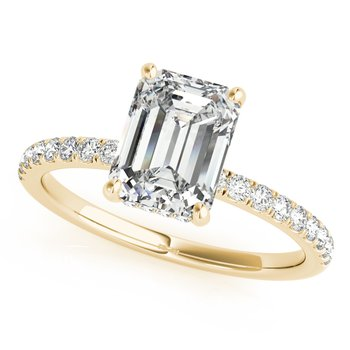 Emerald Shaped Diamond Accented Engagement Ring