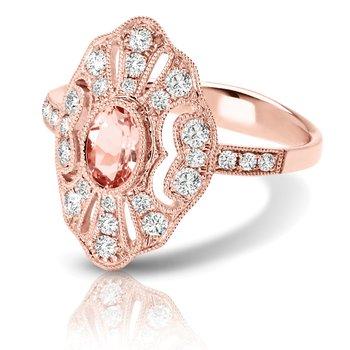 1/2ct. Diamond & 1/2ct. Morganite Gemstone 14k Rose Gold Right Hand Ring