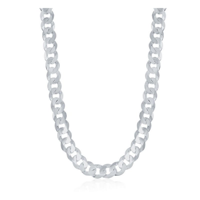Fashion Jewelry Collection  - Sterling Silver 6.25mm Curb Cuban Chain Bracelet / Necklace for Men