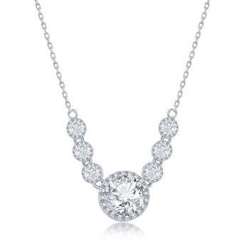 Sterling Silve CZ Pendant Chain Necklace