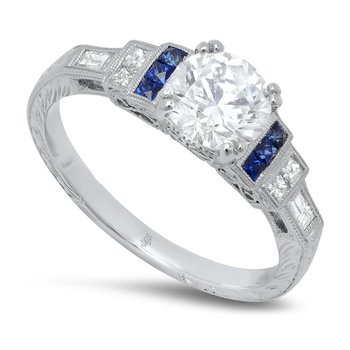 - Stepped Shoulders French Cut Blue Sapphire Gemstones Semi-Mount Round Diamond Engagement Ring