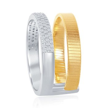- Italian Collection CZ Stones Two Tone Sterling Silver Double Ring Band