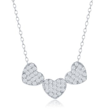Sterling Silver Three Hearts CZ Chain Necklace