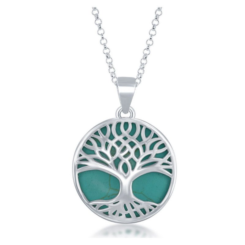 Designer Fashion Jewelry Collection  - Sterling Silver Large Round Green Turquoise with Tree-of-Life Pendant with Chain