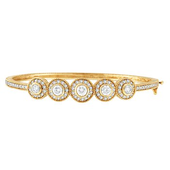 14K Yellow Gold 2.57ctw. Diamond Bangle Bracelet
