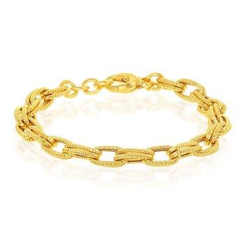 "- Bella Moda Sterling Silver w/14K Yellow Gold Rope Design Double Oval Link Chain Bracelet - 8"""