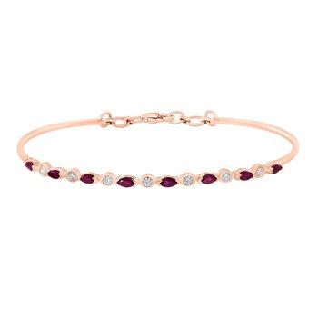 - 14k Rose Gold Diamond and Ruby Gemstone Bangle Bracelet