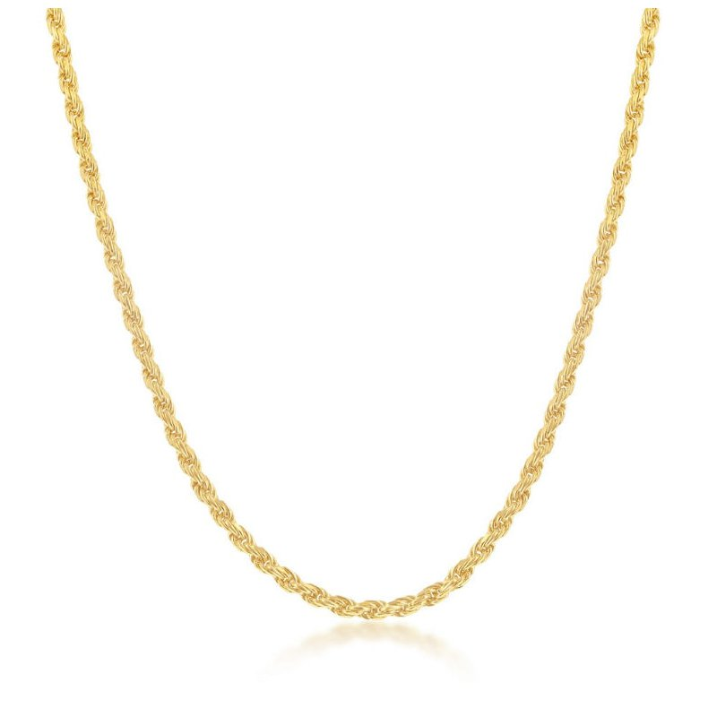 Fashion Jewelry Collection 14k Yellow Gold Plated Sterling Silver 1.5mm Rope Chain Necklace