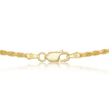 14k Yellow Gold Plated Sterling Silver 1.5mm Rope Chain Necklace