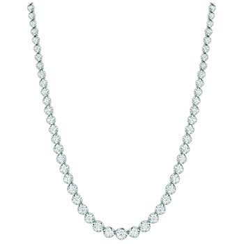 "14K White Gold Gradual Graduated 10.35ctw. Diamond 16"" Tennis Necklace"