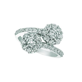 14k Gold Diamond 2-Stone Halo Accented Flower Floral Cocktail Anniversary Ring