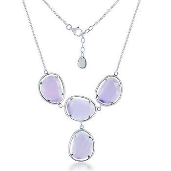 "- Simona Sterling Silver Light Violet Cat's Eye Y Neckalce - 18"""