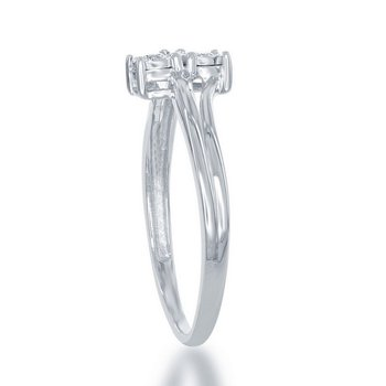 1/10ctw. Diamond 2-Stone Illusion Setting Sterling Silver Engagement Ring