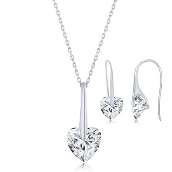 Sterling Silver Solitaire Spinning Heart CZ Stone Pendant Chain Necklace and French Wire Earrings Set