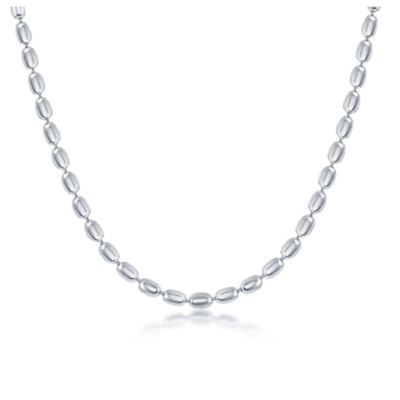 Fashion Jewelry Collection Sterling Silver 3mm Oval Beaded Chain Anklet/Bracelet/Necklace