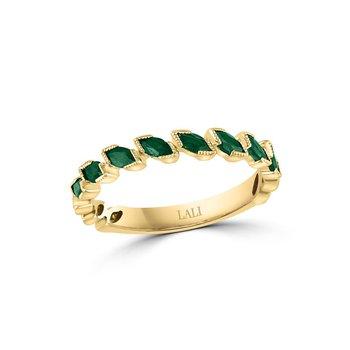 - 14k Yellow Gold Emerald Gemstone Anniversary Band Ring