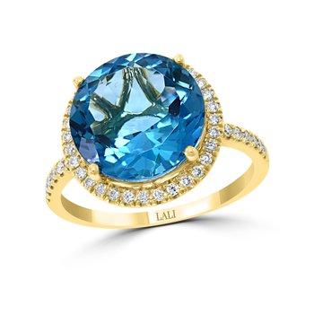 - 14k Yellow Gold 0.30Ctw. Diamond Halo and 6.46Ct. London Blue Topaz Gemstone Cocktail Ring