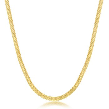 "Sterling Silver 3mm Flat Mesh Chain Adjustable Length Necklace (17""+2"")"