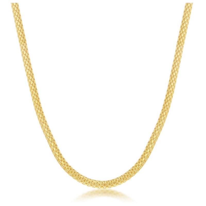 """Fashion Jewelry Collection Sterling Silver 3mm Flat Mesh Chain Adjustable Length Necklace (17""""+2"""")"""