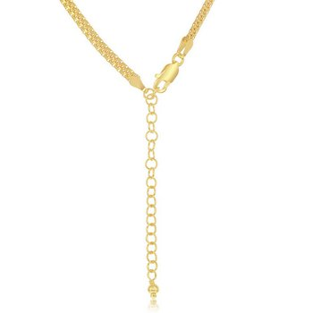 """Sterling Silver 3mm Flat Mesh Chain Adjustable Length Necklace (17""""+2"""")"""